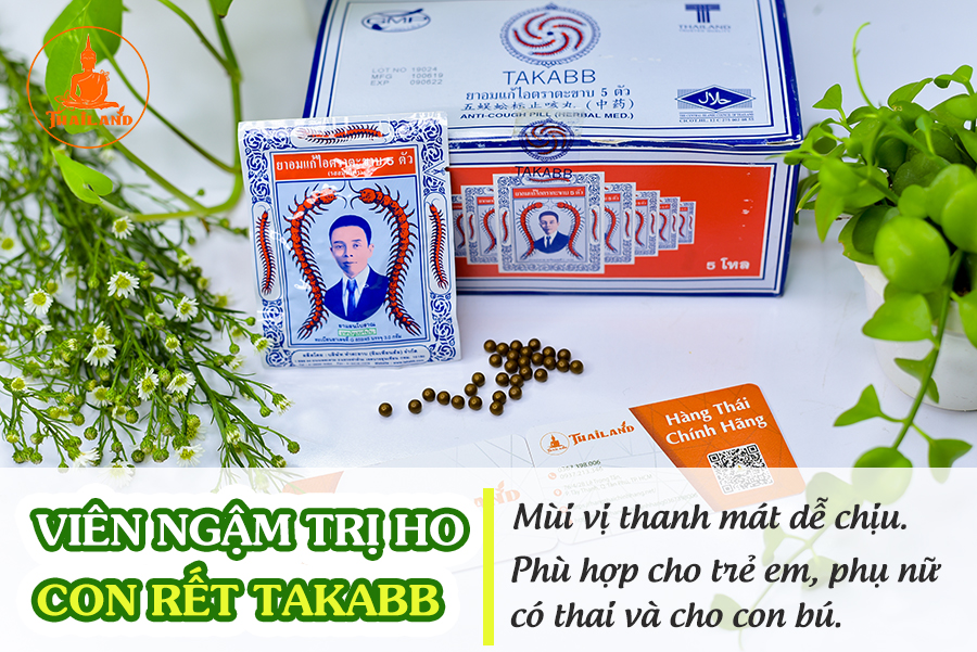 Cách sử dụng viên ngậm trị ho Con Rết Takabb Thái Lan