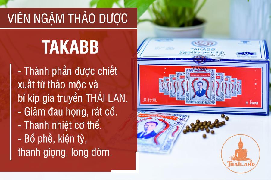 Điều trị đau rát họng bằng viên ngậm Takabb hiệu Con Rết Thái Lan