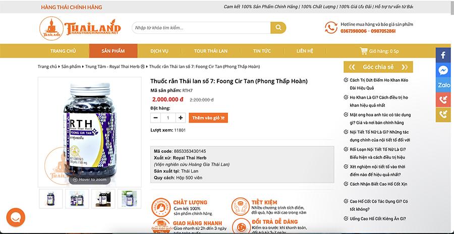 Giá bán Thuốc rắn Thái Lan Foong Cir Tan