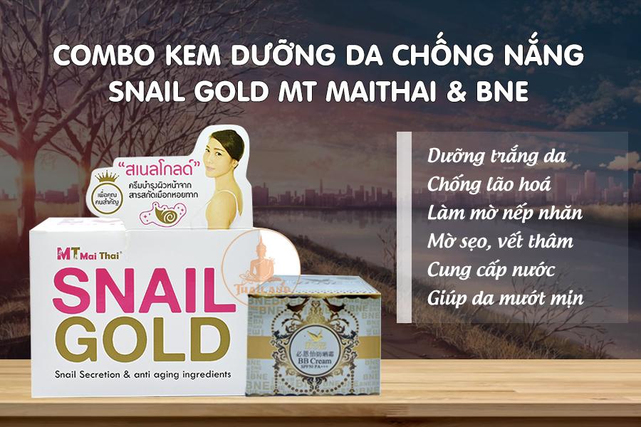 Kem dưỡng da Snail Gold MT và kem chống nắng Bne