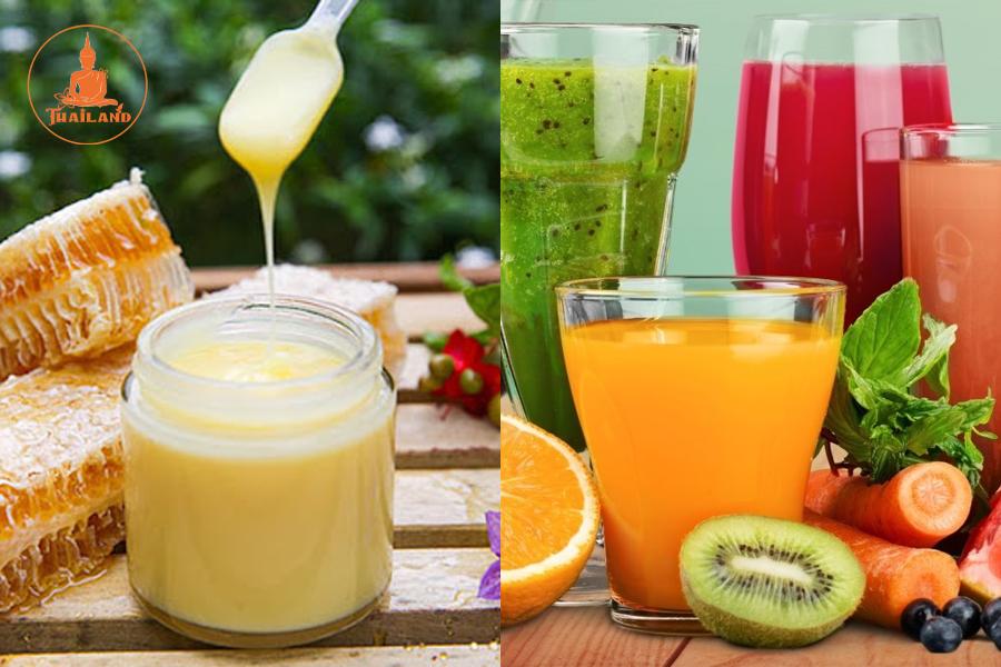 Uống sữa ong chúa chung với nước ép trái cây
