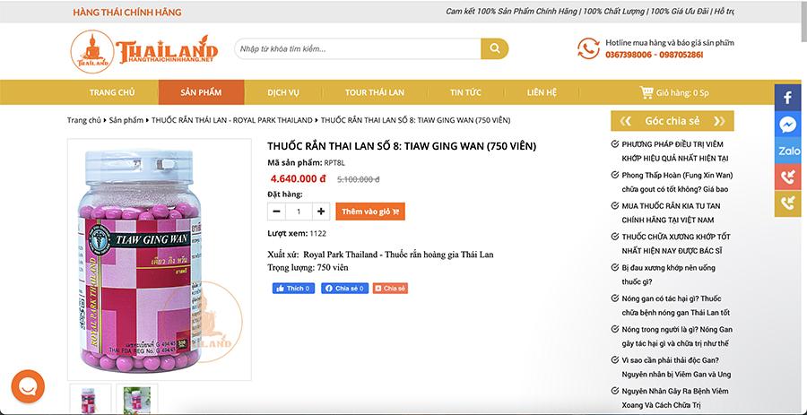Thuốc rắn Thái Lan số 8 Tiaw Ging Wan (hộp 750 viên)